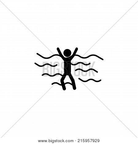 sinking man person icon on white background