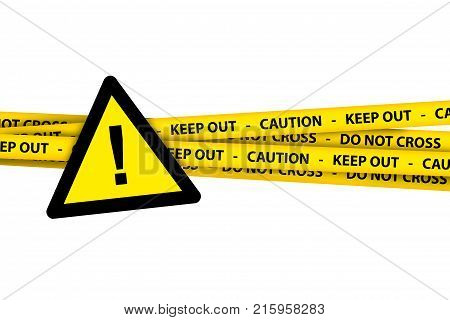 Triangle Yellow Warning Sign With Caution Tape