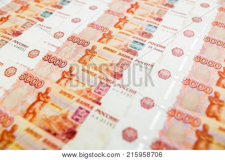Russian paper banknotes 5000 rubles background. Russian ruble