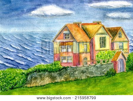 House by the sea, hand-painted watercolor illustration and paper texture