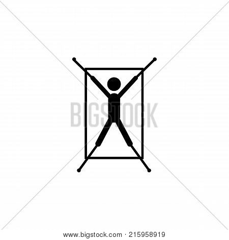 Rope in hands torture icon on white background