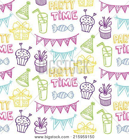 Hand drawn doodle party time set. Pattern