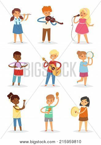 Music kids vector cartoon characters set of children singing or playing musical instruments guitar, violin and flute in childhood kiddy illustration isolated on white background.