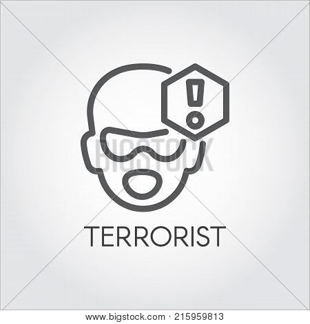 Linear icon of terrorism concept. Sign of abstract mans face and exclamation mark. Dangerous gangster, bandit, killer label. Warning symbol. Vector outline pictograph