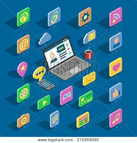 Web isometric icons vector 3d office collection set and computer buttons for website with business isometrical iconic symbols and digital network internet and social media illustration isolated.
