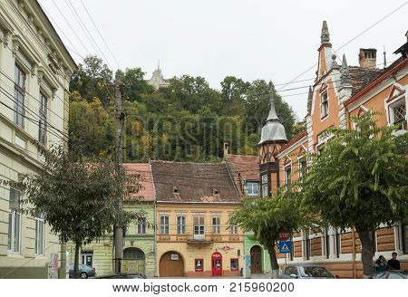 Sighisoara Romania October 08 2017 : Nicolae Balcescu Street in the old city of Sighisoara in Romania