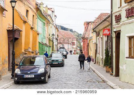 Sighisoara Romania October 08 2017 : Octavian Goga Street located near the castle in old city. Sighisoara city in Romania