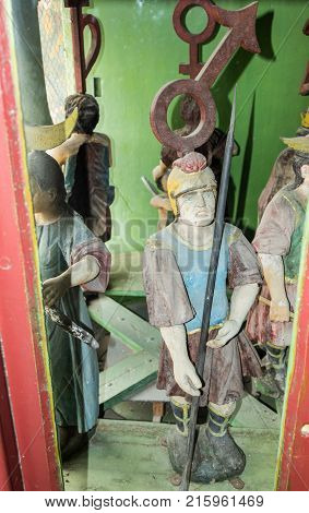 Sighisoara Romania October 08 2017 : Decorative figures of people from the clockwork in the Clock Tower in the castle of old city. Sighisoara city in Romania