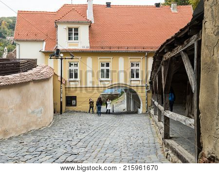 Sighisoara Romania October 08 2017 : The Turnului street is leading to the entrance to the old town in Sighisoara city in Romania