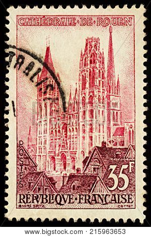 Moscow Russia - November 29 2017: A stamp printed in France shows Rouen Cathedral (Cathedral of Notre Dame) series
