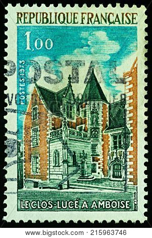 Moscow Russia - November 29 2017: A stamp printed in France shows Chateau du Clos Luce in Amboise France series