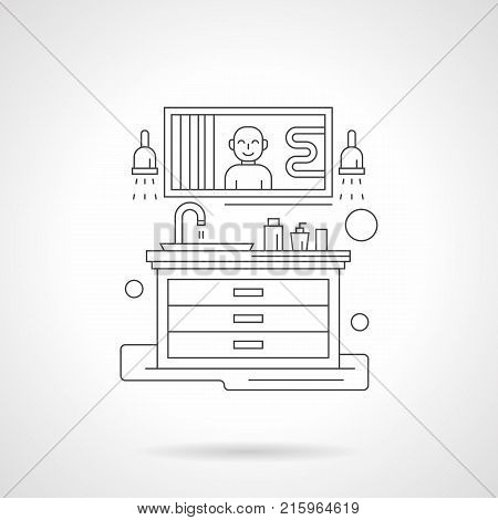 Abstract illustration of bathroom wash stand and mirror with reflection of a smiling person. Domestic life concept. Detailed flat line vector icon. Web design element.
