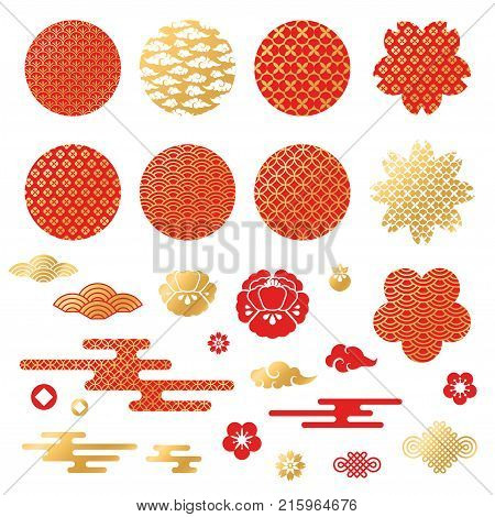 Chinese and japanese decorative icons, clouds, flowers and patterns. Vector Illustration. Peony flowers, geometric ornaments in traditional red and gold colors