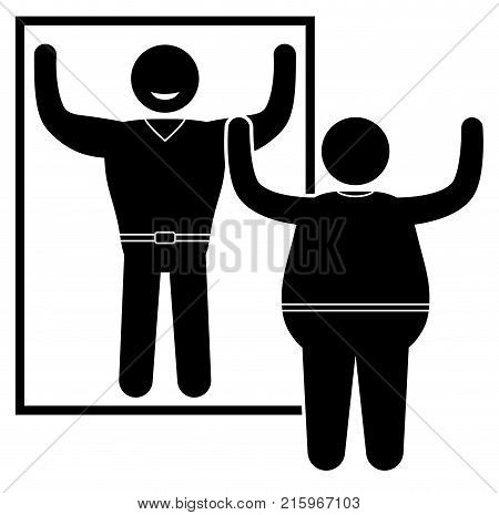 Obese man standing at the mirror. Normal weight and overweight man. Vector illustration.