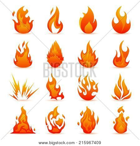Colorful Flames in the Flat Style. Simple, Icons Bonfire. Vector set of fire and flame icons