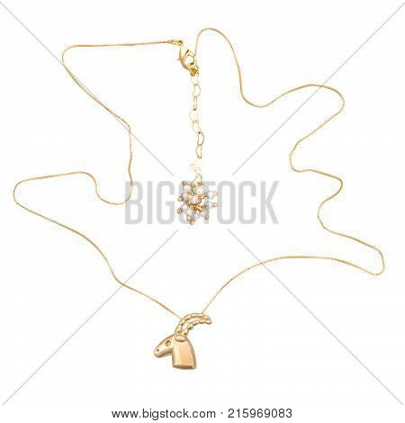 Gold chain on a white background. Acessory.