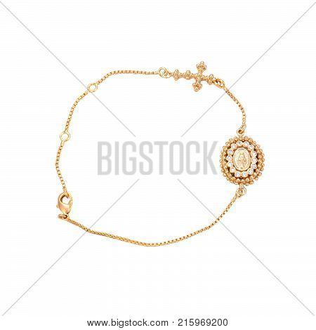 Gold Bracelet with a cross isolated. Acessory