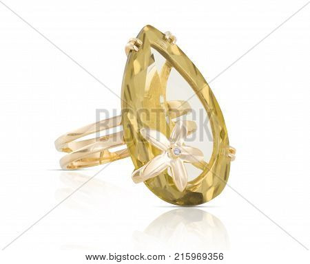 Golden diamond ring isolated on white. Acessory