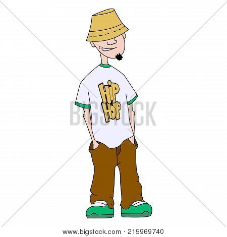 The character of hip-hop. Musician rap. Good hipster. The notion of subculture. The concept of street style. Vector isolated image.