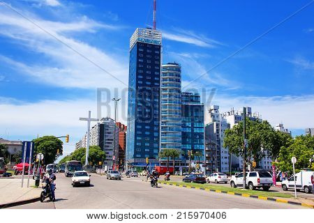 Montevideo, Uruguay - December 13: Tres Cruces District With Torre Del Congreso On December 13, 2014