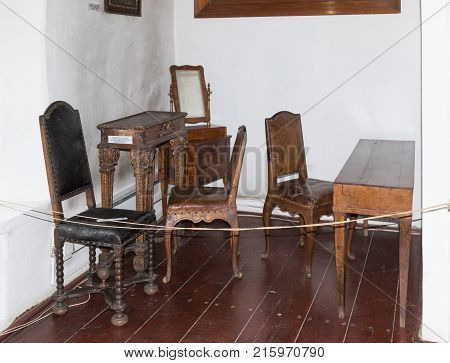 Sighisoara Romania October 08 2017 : Wooden furniture of 17-18 centuries worth for the general view in the Clock Tower to the old city. Sighisoara city in Romania