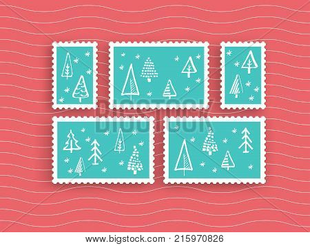 A set of postage stamps for Christmas, and Christmas cards. Vector illustration