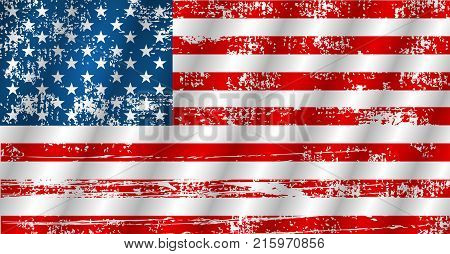 American Flag Waving In Grunge Style, Vector Illustration