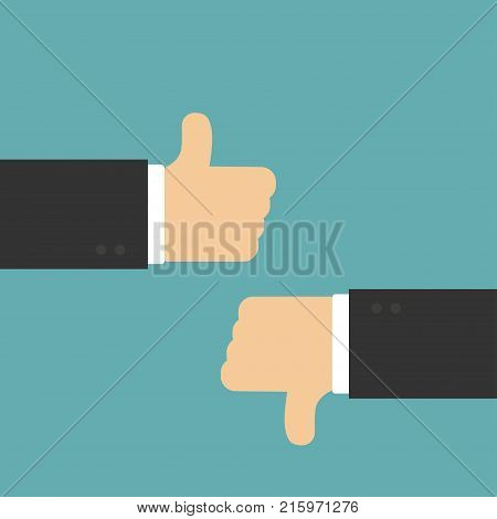 Thumb Up And Bad In Flat Design, Vector Illustration