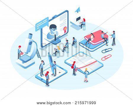 Online education concept. Online training courses, specialization, tutorials, lectures, university studies. 3d isometric people.