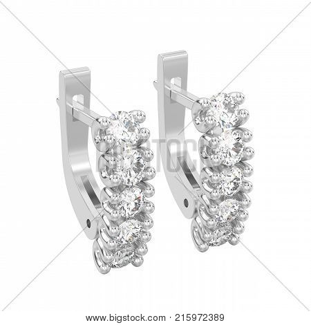 3D illustration isolated two white gold or silver decorative diamond earrings with english lock on a white background
