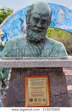 Santa Cruz, Ecuador -april 23: Bust Of Charles Darwin At Galapagos National Park Headquarters On San