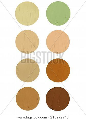 Makeup corrector blur cream set isolated on white background. Top view collage corrective tonal base. Foundation for all skin type problems. Set of tonal cream