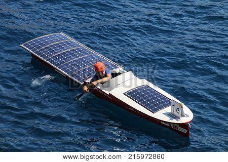 Monte Carlo, Monaco - July 11: Unidentified Man Rows In Solar Boat In Port Hercules During Monaco So