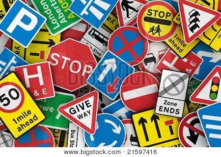 Many British Traffic Signs