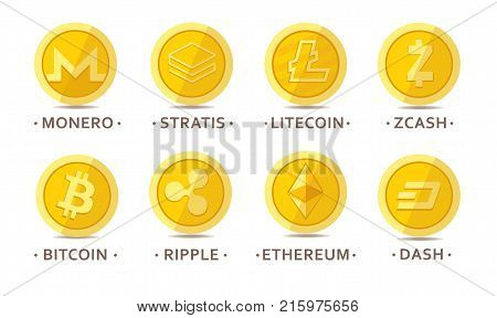 Set of cryptocurrency icons for internet money. Blockchain based secure. Isolated vector sign. Main cryptocurrency coins