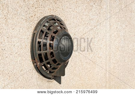 Outdoor ventilation unit of propane or liquid petrol gas heating system for house or building apartment close up