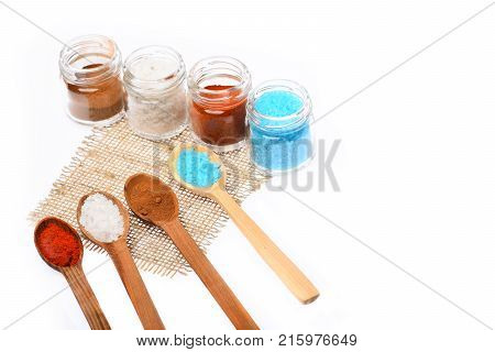 Wooden Spoons And Containers With Paprika, Salt And Sea Salt