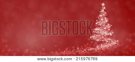 Christmas time. Christmas tree with stars and snowflakes in red winter landscape.