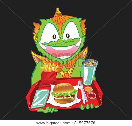Man serving a noodle burger by Thai Giant cartoon character design has clipping paths Background isolate dark gray color.