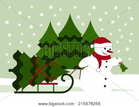 vector snowman ringing bell and pulling sledge with christmas tree in snowy landscape
