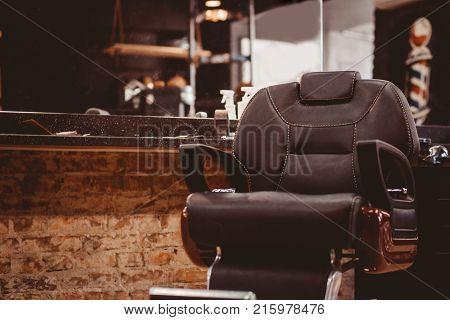 Barbershop armchair. modern hairdresser and hair salon barber shop for men.