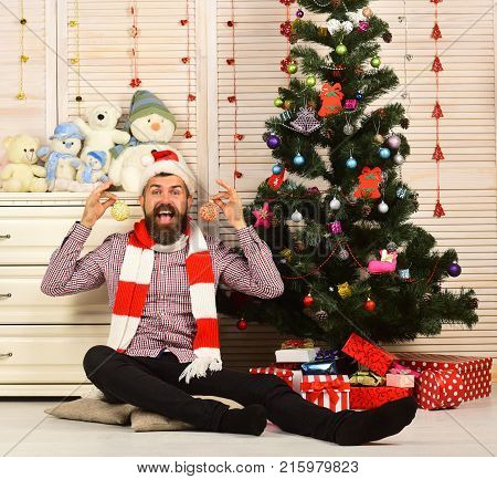 Celebration And Decor Concept. Santa Claus With Happy Face