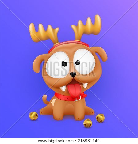 Cute Little Puppy Character Sitting in Wait of 2018 Chinese New Year and Christmas with deer horns on head. Sitting dog with tongue out lucky color vector illustration on gradient background.