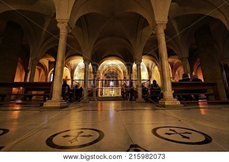 FLORENCE ITALY - NOVEMBER 7 2017: People in the crypt the ancientest part of San Miniato Basilica built in the XI century