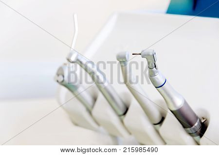 Dentist workplace in clinic. Various modern dentist equipment tools for treatment teeth