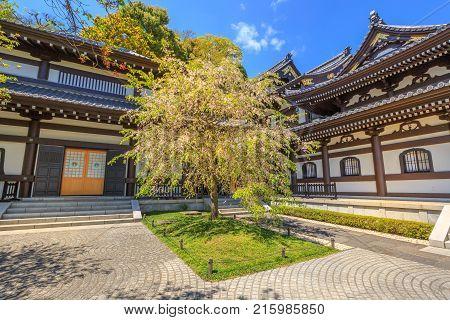 Kamakura, Japan - April 23, 2017: popular Buddhist temple and touristic attraction in Kamakura. Kannon-do or Main hall of Hase-dera Temple in Kanagawa Prefecture, Kamakura. Spring season.