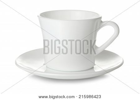 Empty white ceramic cup and saucer isolated on white background.