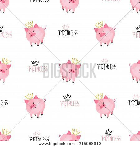 Seamless cute princess pig pattern. Vector childish background