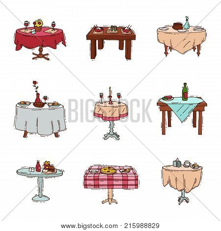 Dining tables in restaurant vector set lunch dinner date in cafe with glasses of wine Italian pizza Chineese food Oriental cuisine illustration isolated on white background.