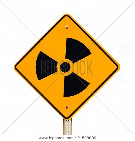 Radioactive road sign isolated on white